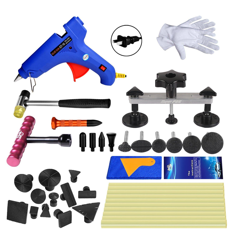 Super PDR 31pcs Auto Dent Puller Paintless Dent Repair Tools kit - Dent Bridge Dent Puller Kit with Hot Melt Glue Gun Glue Sticks for Car Body Dent Repair