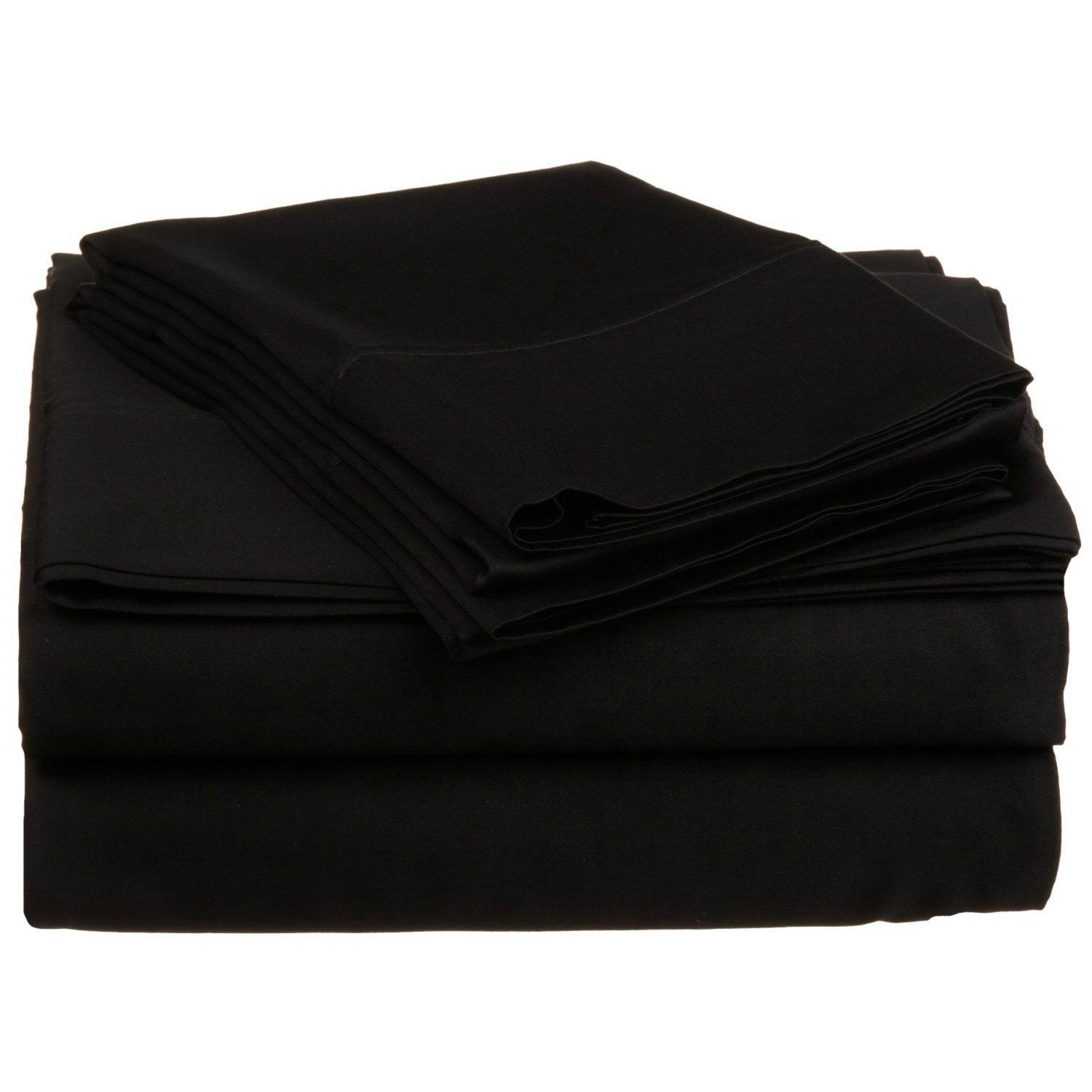 4 Piece Full Black Bed Sheet Set, Ultra cozy, super soft, lightweight, durable, satiny smooth, Fully Elasticized, Sateen weave with 300 thread count, Black, Cotton