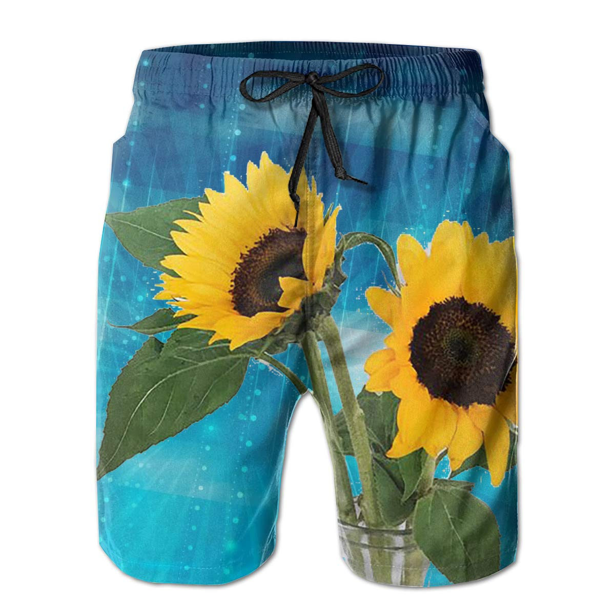 Oiyucv Mens Swim Trunks Yellow Sunflower Quick Dry Board Shorts Bathing Suits Swimwear Volley Beach Trunks