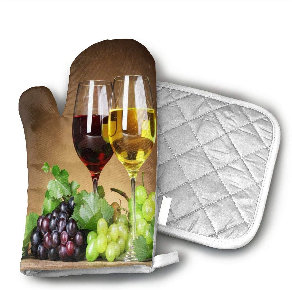 GDSJHVJNK HFNJHG Grape Wine Hand Drawn Oven Glove Heat Resistant Cooking Glove, Include A Insulated Glove and A Insulation Pad.