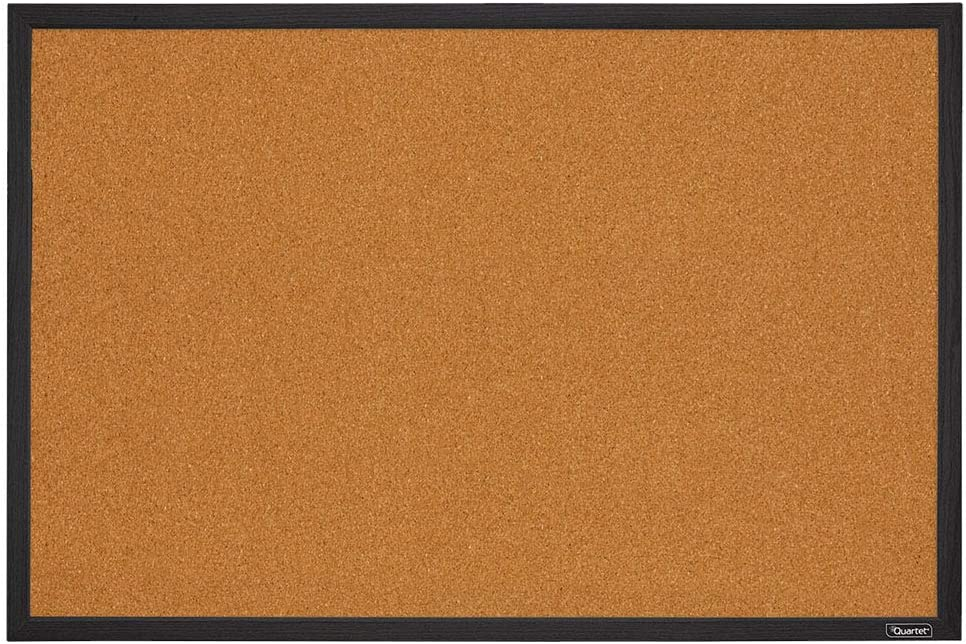 Quartet Corkboard, Framed Bulletin Board, 2 x 3 feet Cork Board, Black Frame (MWDB2436-BK)