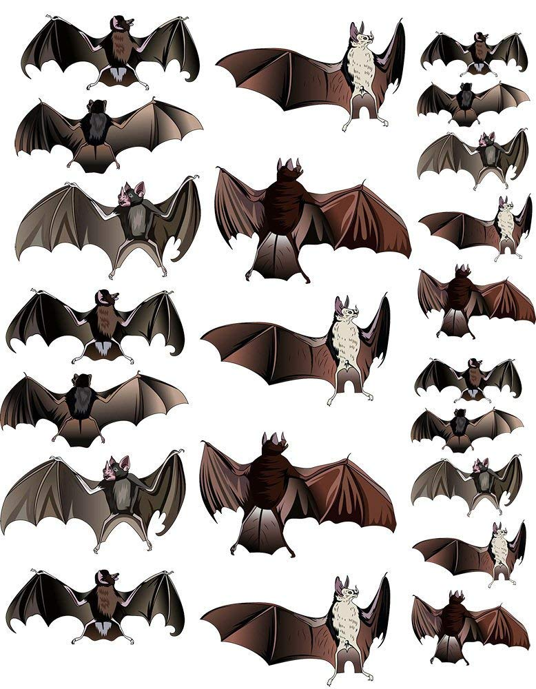 Halloween Bats - 89293 - Ceramic Decal - Enamel Decal - Glass Decal - Waterslide Decal - 3 Different Size Sheet (Images) to Choose from. Choose Either Ceramic (Enamel) or Glass Fusing Decals XpressionDecals