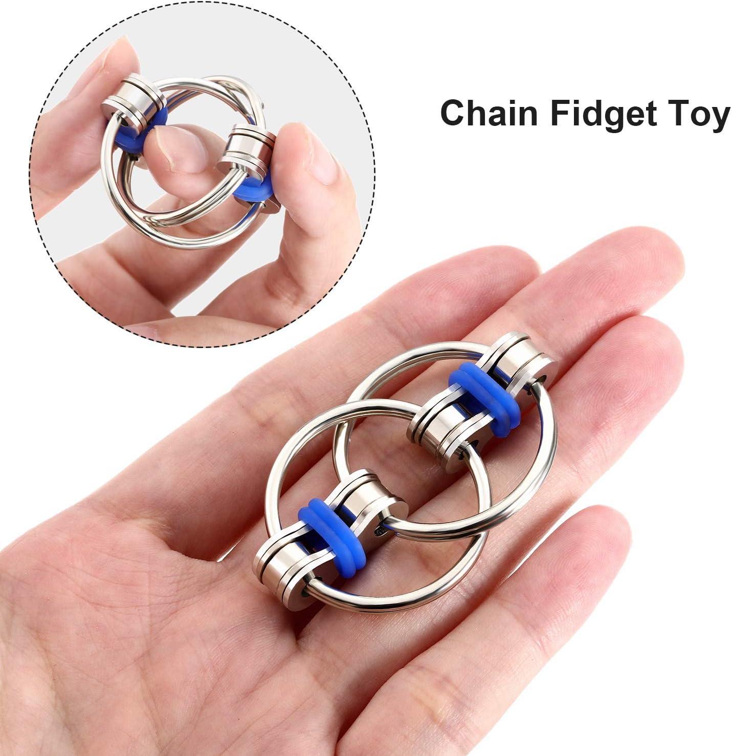 12 Pieces Fidgets Chain Fidget Toy Stress Relief Chain, Great für Adhd und Add, Anxiety Relief Bike Chain Toys für Adults und Teens