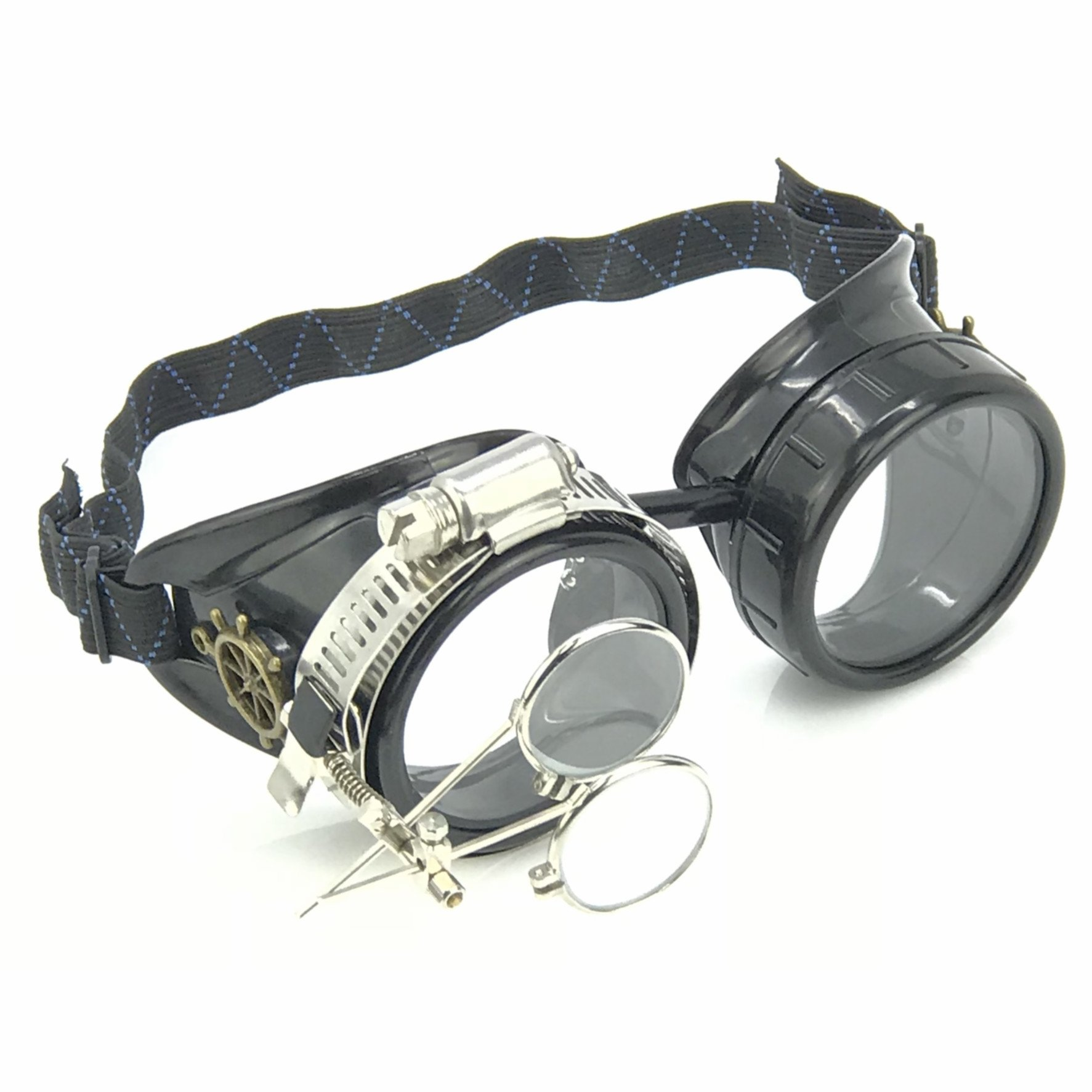 Steampunk Victorian Goggles welding Glasses diesel punk clear lens with Double Clip on eye Loupe