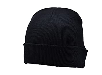 Amazon.com   Beanie Plain Black Winter Ski Woolly Hat   Street Signs ... 41220d7bda4