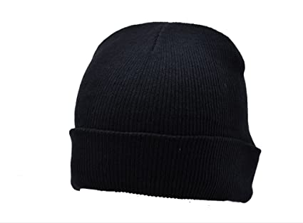 91922e71cbf Image Unavailable. Image not available for. Color  Beanie Plain Black  Winter Ski Woolly Hat