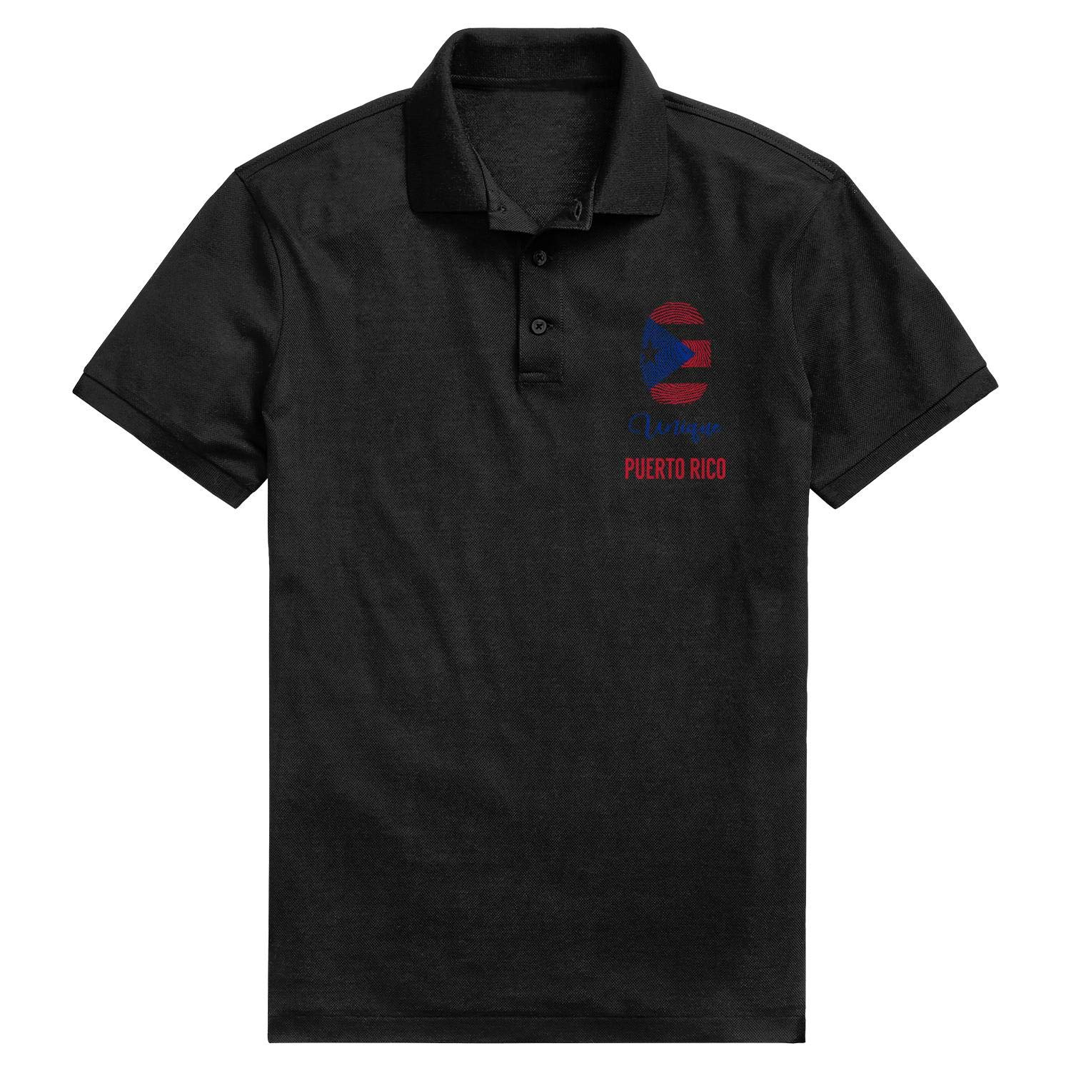 ChenBG Puerto Rican Tat Flag Polo Shirts for Men Regular-Fit Cotton Classic Polo Mens Polo