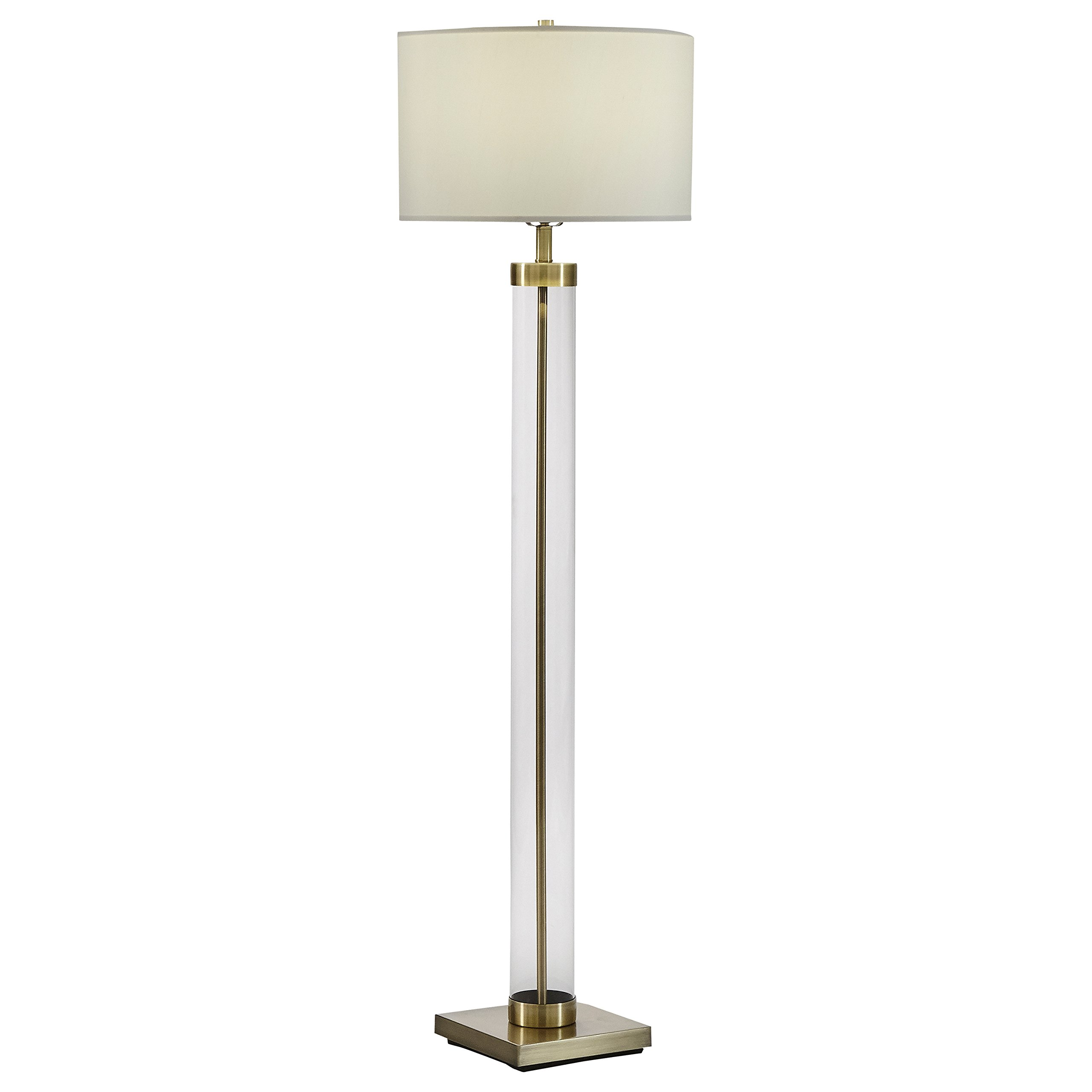 Stone & Beam Glass Column Brass Floor Lamp, 59''H, With Bulb, Linen Shade by Stone & Beam