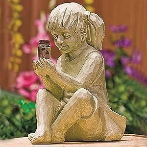 Creative Garden Children Solar Lighted Firefly Jar Boy Girl Statue Yard Outdoor Whimsical Sculpture Decor (B)