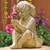 llok Creative Garden Children Solar Lighted Firefly Jar Boy Girl Statue Yard Outdoor Sculpture Decor - Decorative Statue for