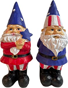 USA Patriotic 4th of July Garden Gnomes- 2 Statues