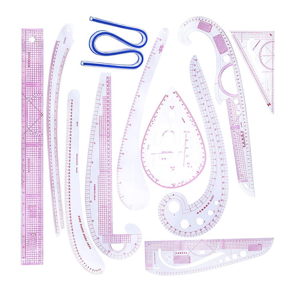 Prettyia 11pcs Multi-Functional French Curve Ruler Set Grading Rulers Patchwork Ruler for Tailors Dressmaker Designer