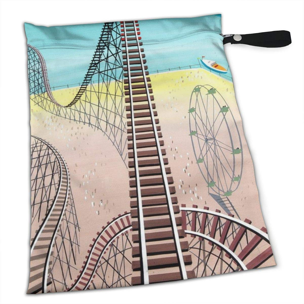 Pumnims Roller Coaster for Swimsuit and Towels Waterproof Kids Baby Boy Clothes Diaper Hanging Reusable Menstrual Sanitary Cloth Pads Handle Wristlet Portable Wet-Dry Bag by Pumnims