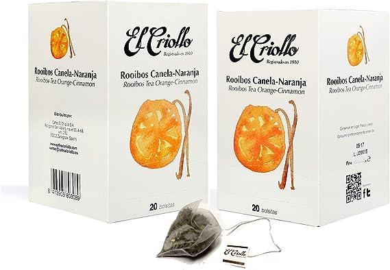 El Criollo - Infusión Rooibos Canela Naranja Gourmet | Pack de 2x20 (40 bolsitas): Amazon.es: Alimentación y bebidas