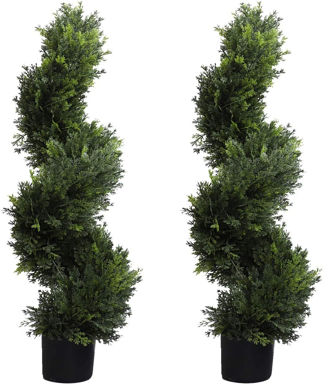 Momoplant Artificial Spiral Trees 2 Set Of 3 Ft 90cm Topiary Cypress Plants For Outdoor And Indoor Decor With Black Pot Amazon Co Uk Kitchen Home