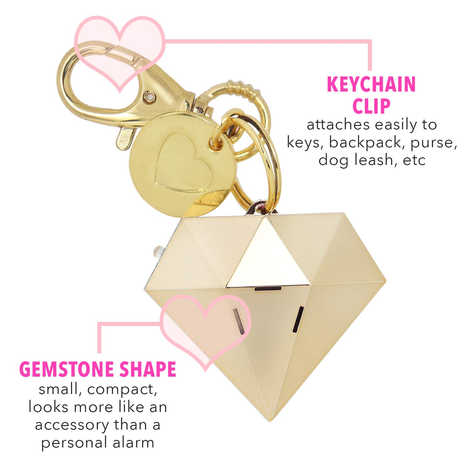 Personal Safety Alarm for Women - Ahh!-larm! Self-Defense Personal Panic Alarm Keychain for Women with LED Safety Light and Clip, Gold Gemstone Diamond by BLINGSTING (Image #2)