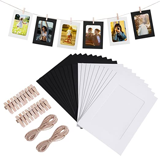 DIY Kraft Paper Picture Frames with Clothespin Hanging Wall Decoration with Clips and Ropes for 4x6in Pictures Stormshopping 30 PCS Paper Photo Frames