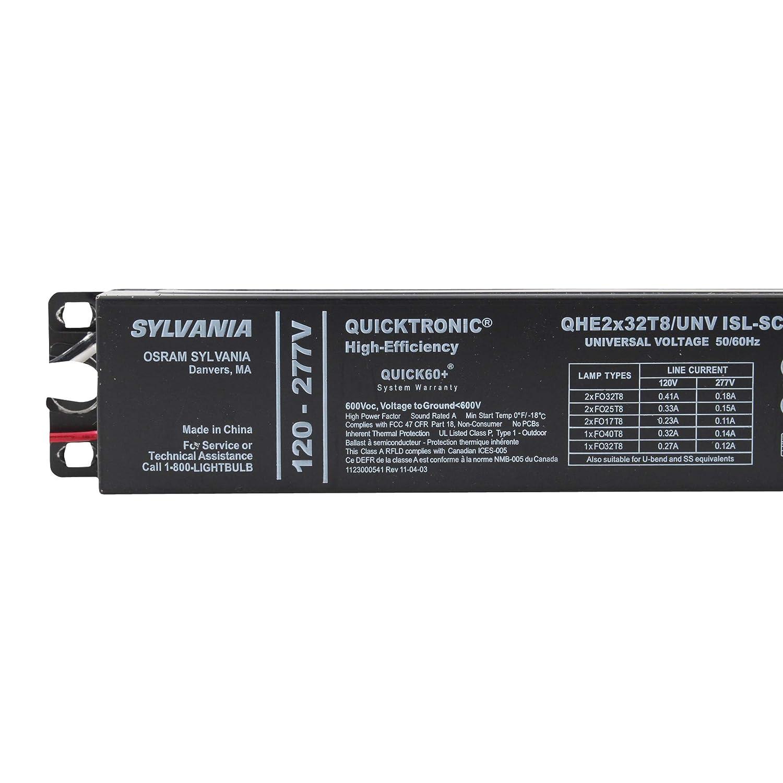 T8 120-277V 32W Fluorescent SYLVANIA QHE2X32T8//UNVISL-SC Electronic Ballast 2-LAMP