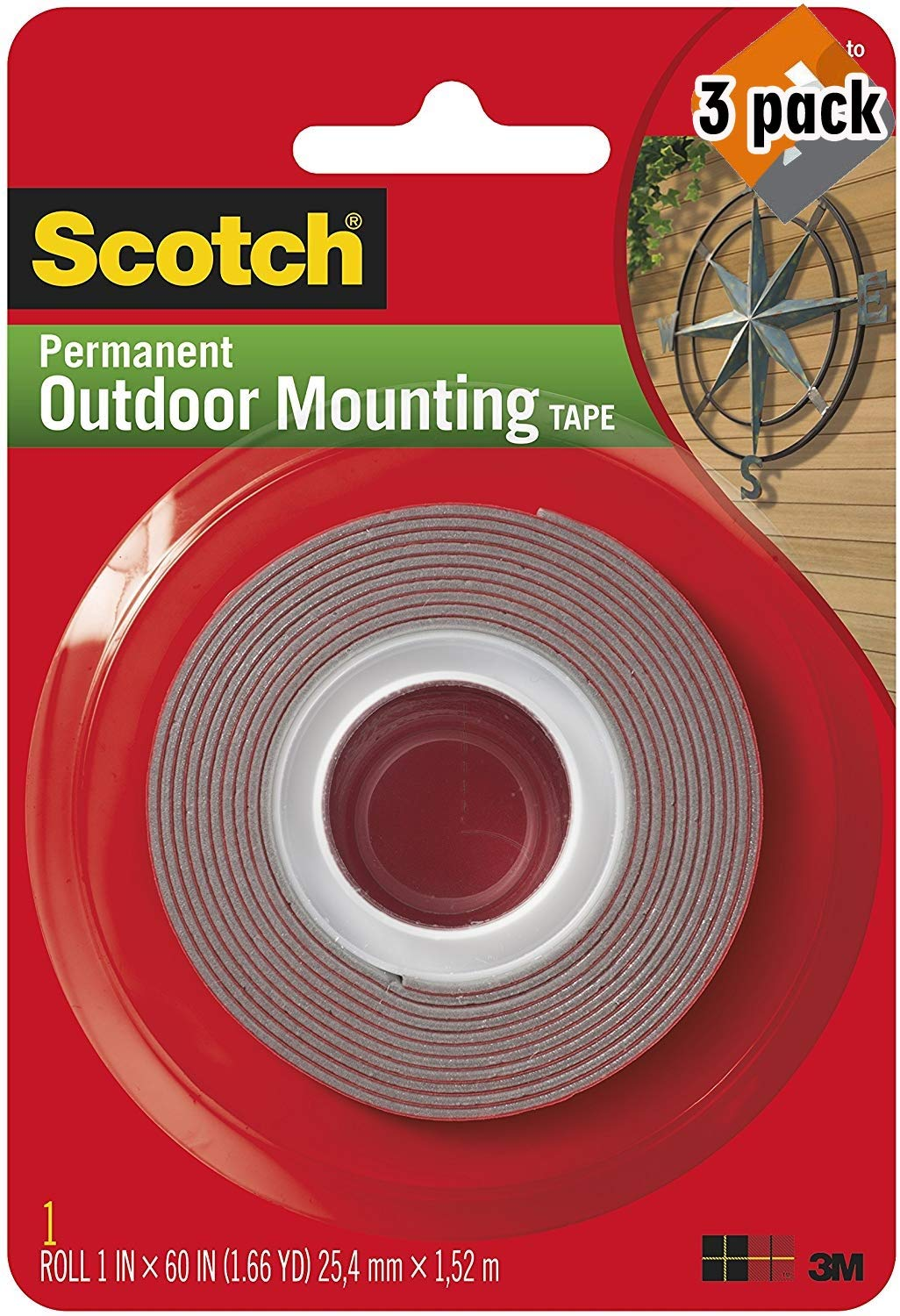 Heavy-Duty Exterior Mounting Tape, Holds 5 lb, 1''x60'' - 3 Pack by Scotch Brand