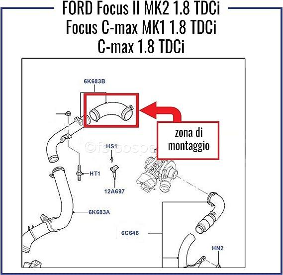 Ford Focus Mk2 Focus C Max Manicotto Turbo Intercooler 1.8 Tdci 4m51-6k863-be
