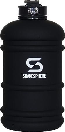 SHAKESPHERE Large Sports Water Bottle - BPA Free Hydration Jug, Black - Ideal for Sports, Camping, Outdoor, Biking & Kids (Matte Black White Logo, 2.2L)