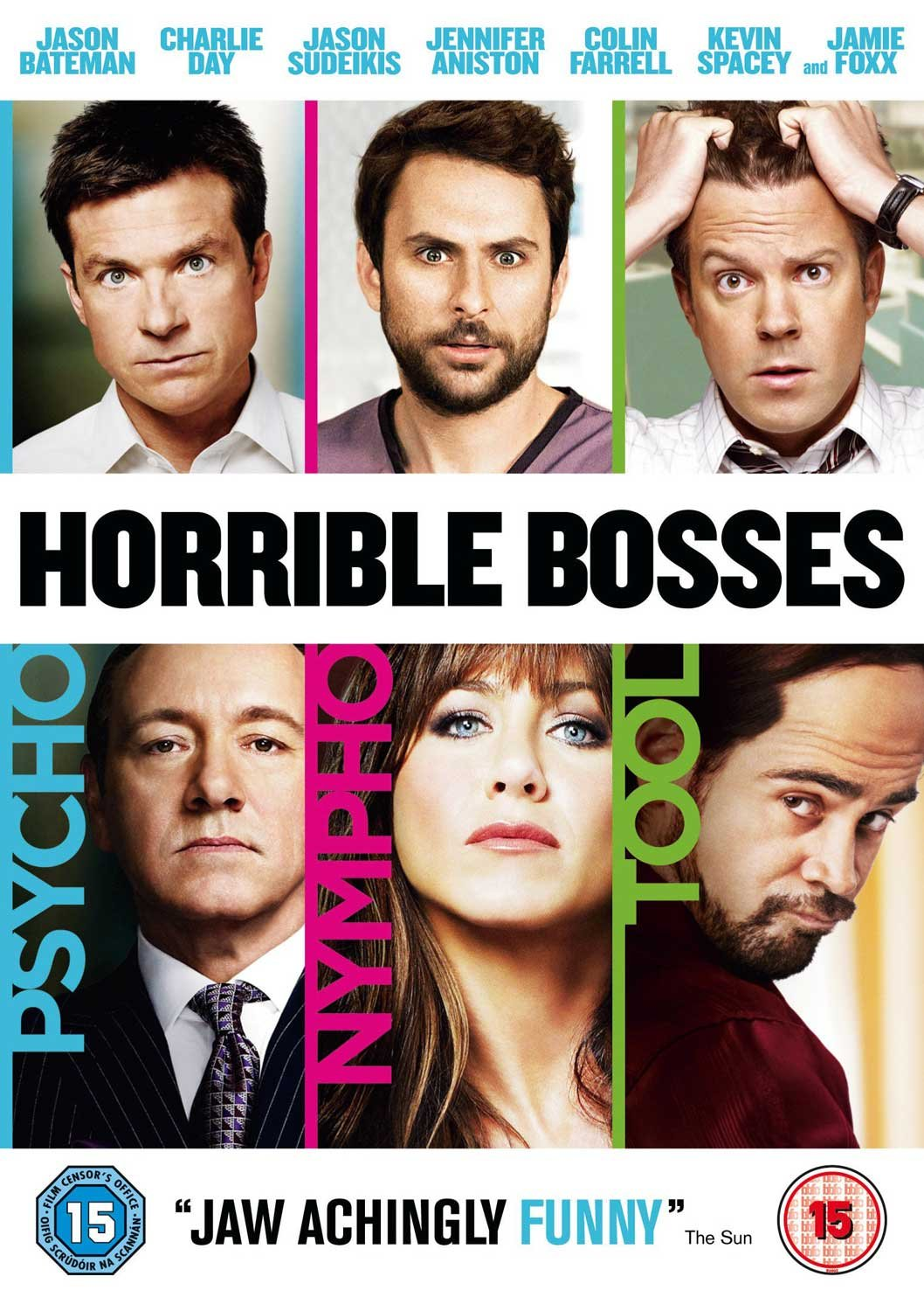 horrible bosses dvd amazon co uk jason bateman charlie horrible bosses dvd 2011 amazon co uk jason bateman charlie day jason sudeikis jennifer aniston colin farrell kevin spacey jamie foxx dvd