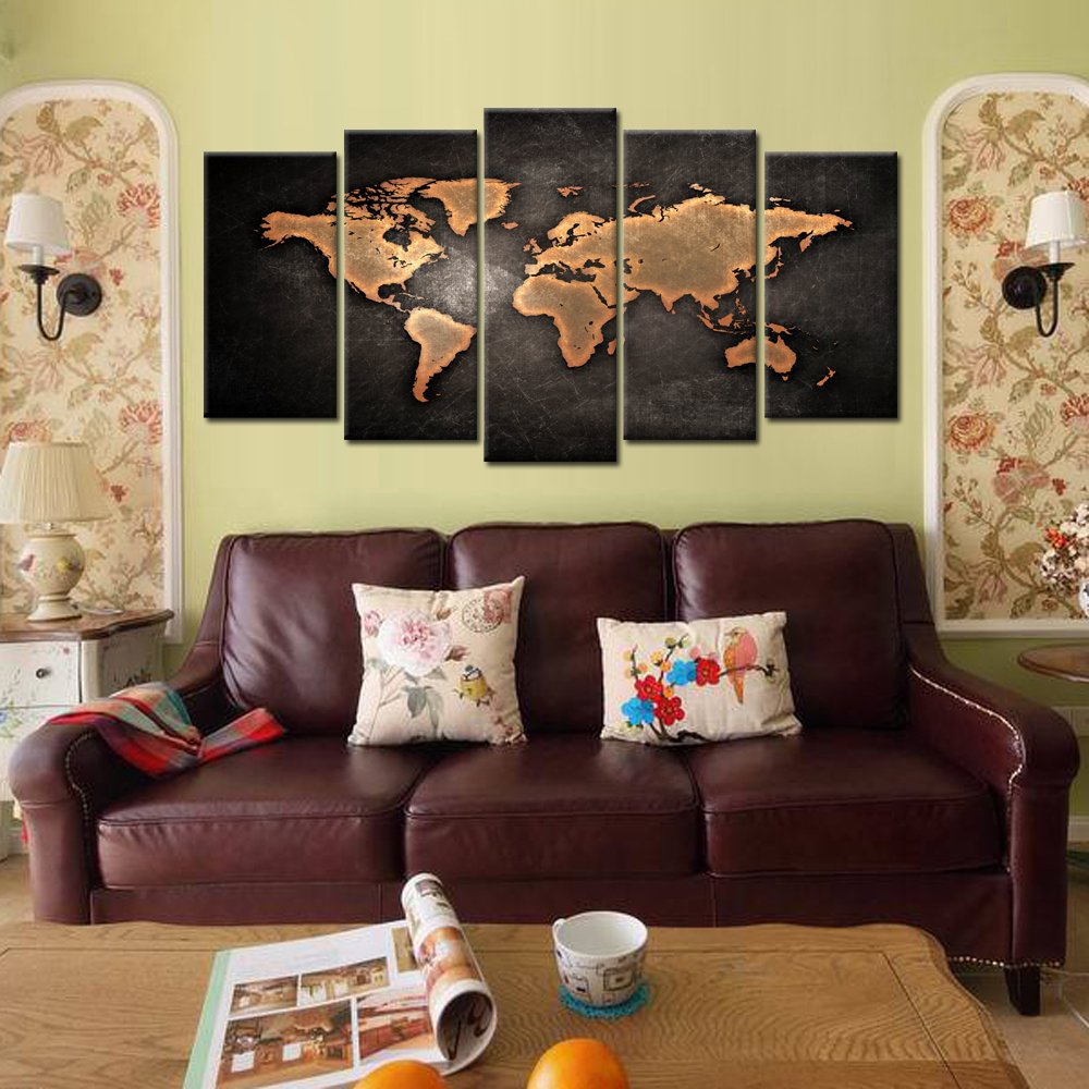 Kreative arts retro world map poster framed 5 pcs giclee canvas kreative arts retro world map poster framed 5 pcs giclee canvas prints vintage abstract world map painting printed on canvas ready to hang for living room gumiabroncs Gallery