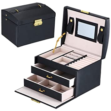 DCCN Jewellery Box Cosmetic Case ThreeLayer PU Leather Jewelry