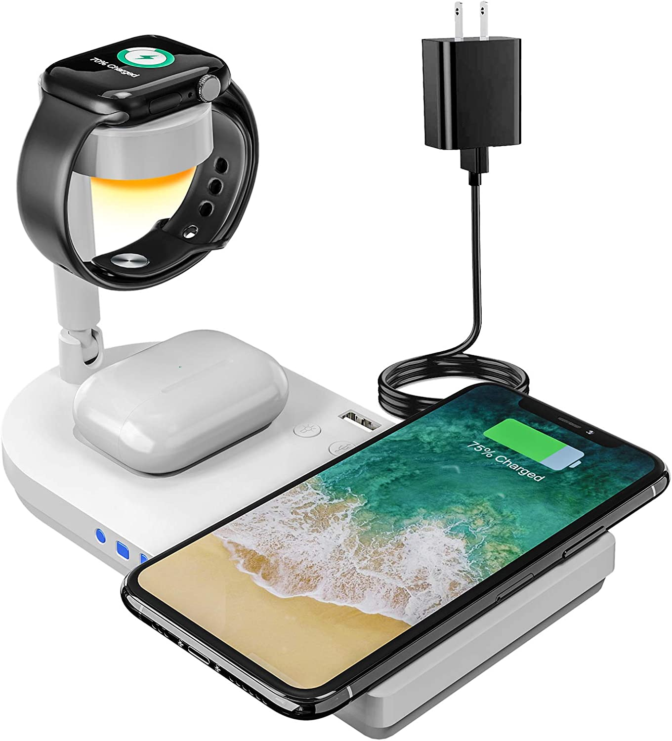 Upgraded Wireless Charging Station, 4 in 1 Qi-Certified 15W Fast Charging Dock with Bedside Lamp, Compatible for iPhone 12/11 Series, AirPods, Apple Watch Series SE/6/5/4/3/2/1 (White)