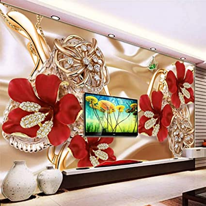 Hyxmk Custom Size Mural Modern 3d Rich Jewelry Flower Luxury