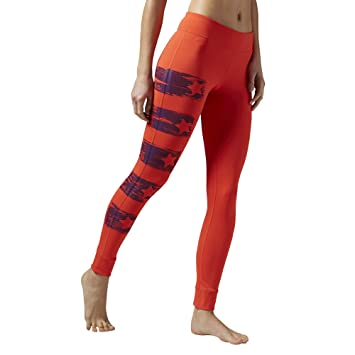 8d5c54ef17663 Reebok Women's Yoga Painted Tights, Red, L AJ1183: Amazon.co.uk ...