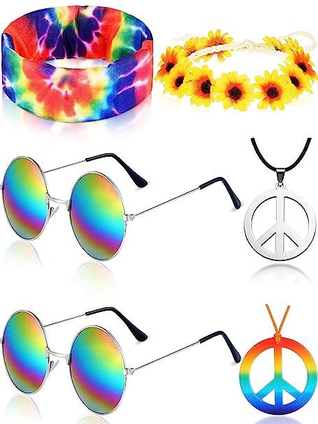 Amazon.com: Juego de 6 piezas de disfraz hippie, diadema ...