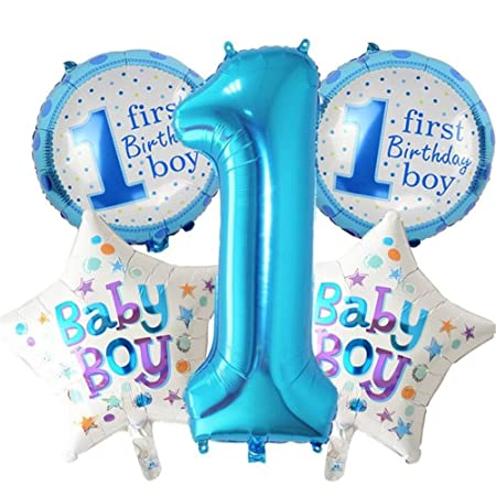 ECOSWAY 5Pcs FIRST BIRTHDAY DECORATION SET For Boy Girl 1st Birthday Happy Decoration Inflatable