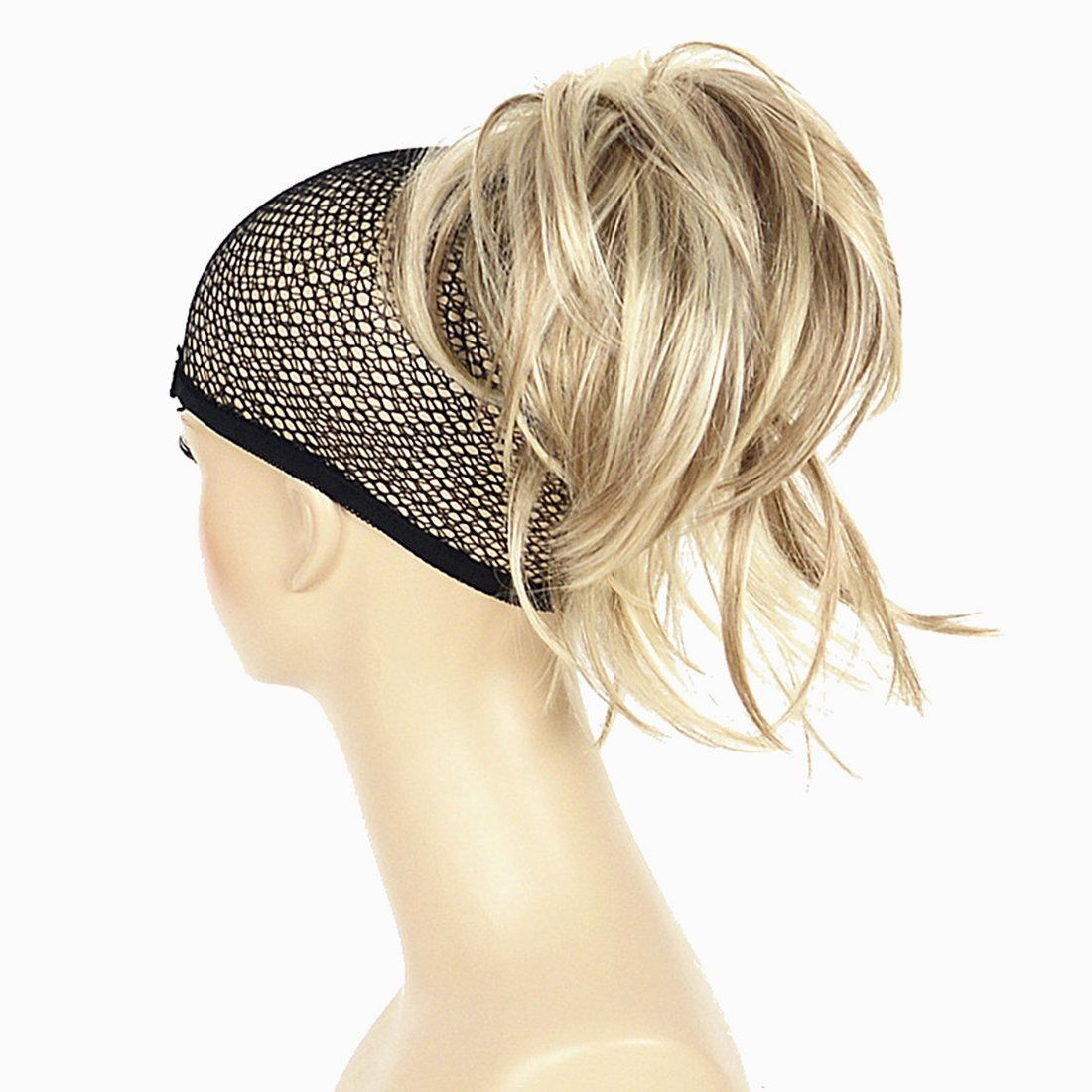 Adjustable Messy Style Ponytail Hair Extension Synthetic Hair-Piece with Jaw Claw Amzing Shape For You Hivision(H16/613 Blonde Highlighted) by Hivision