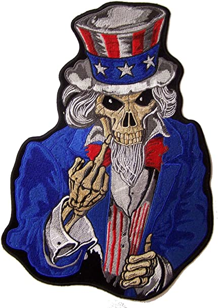 Middle Finger Biker Funny Rude iron Sew-on Embroidered Patch// Applique