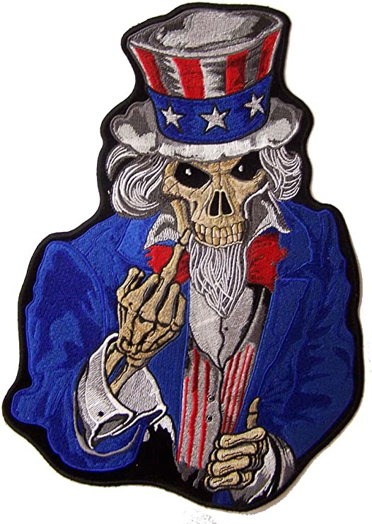 Uncle Sam Skull Six Guns Flags Iron On Sew On Embroidered Patch 5 X 4 38