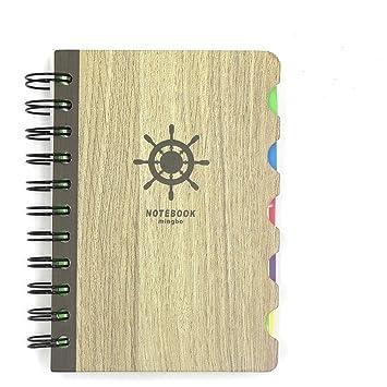 Vintage madera, cuaderno de espiral carcasa rígida agenda ...