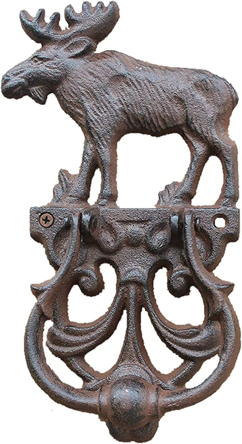 XJZM Outdoor Garden Fence Gate Knockers Townhomes Cast Iron Pull Ring, Deluxe Wall Decor Antique Elk Door Knocker, Vintage Handle with an Retro Bronze Finish Artisan Made Home Decor Acce (Color : 1)