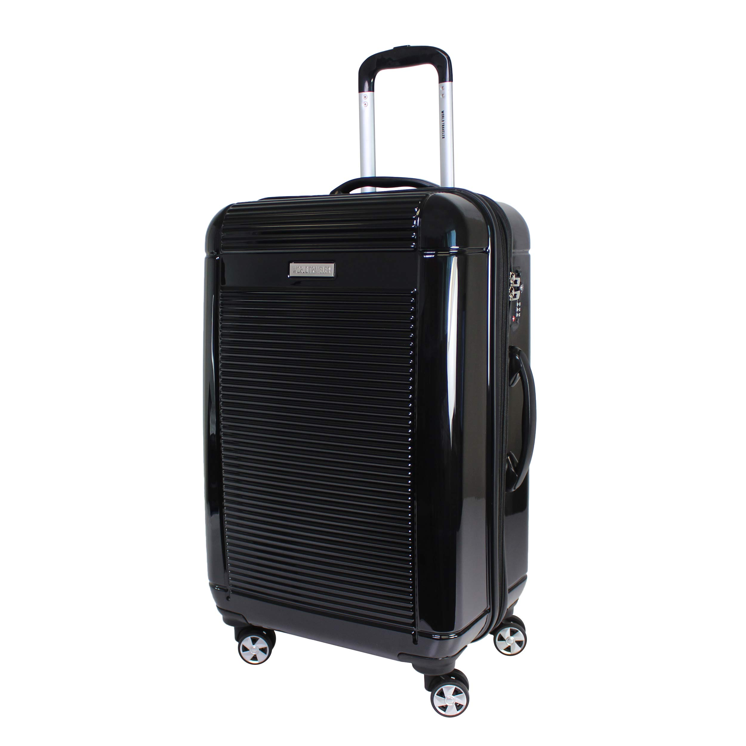 World Traveler Regal Hardside Lightweight Spinner Luggage Suitcase - Black (24-Inch)
