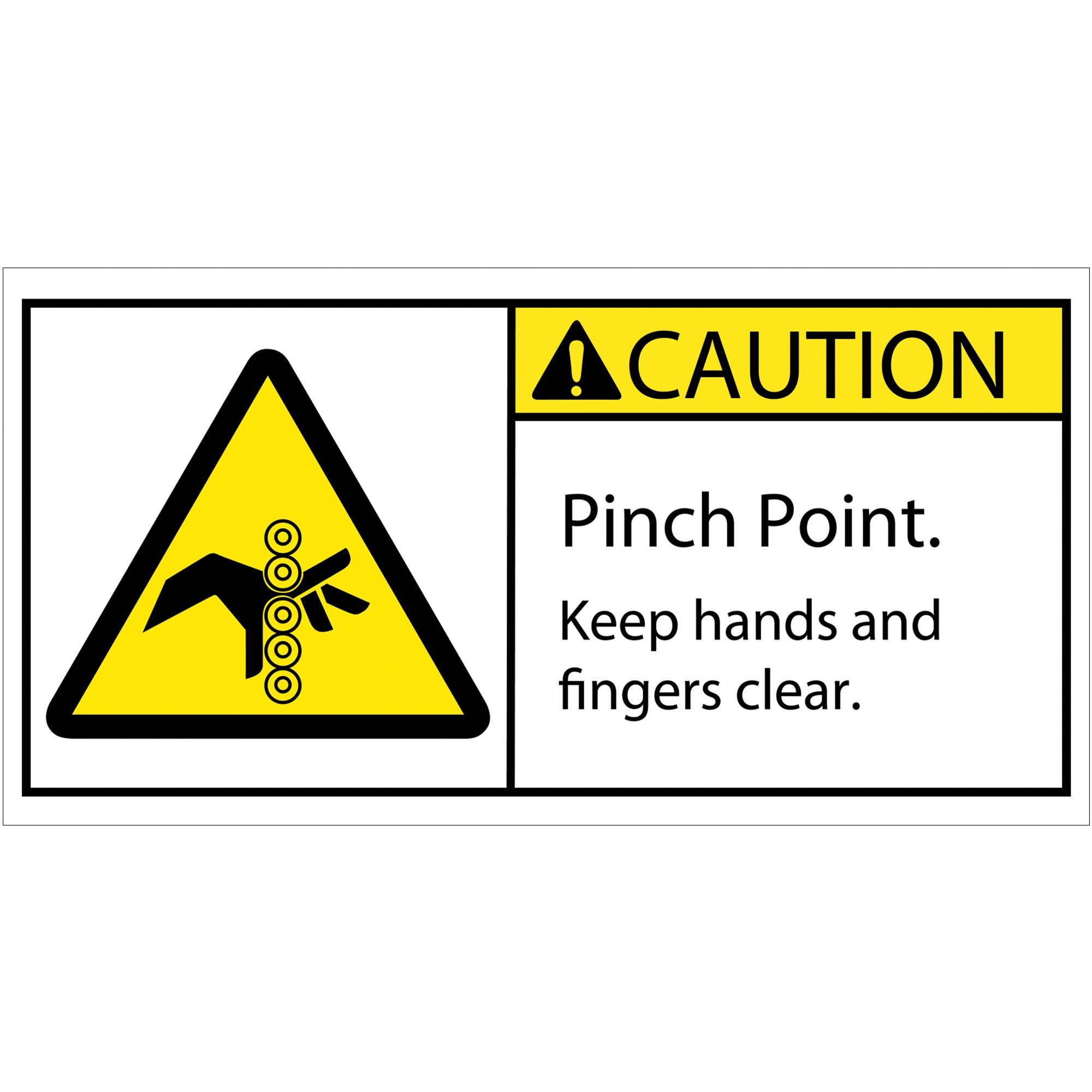 Aviditi DSL522 Tape Logic Caution Pinch Point Rollers Durable Safety Label, 2'' x 4'', Multi-Color (1 Roll of 25 Labels)