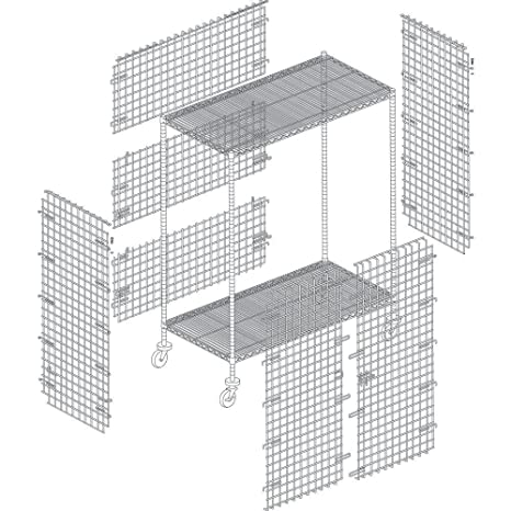 HUBERT Chrome Wire Lockable Security Cage 36L x 18W x 15H