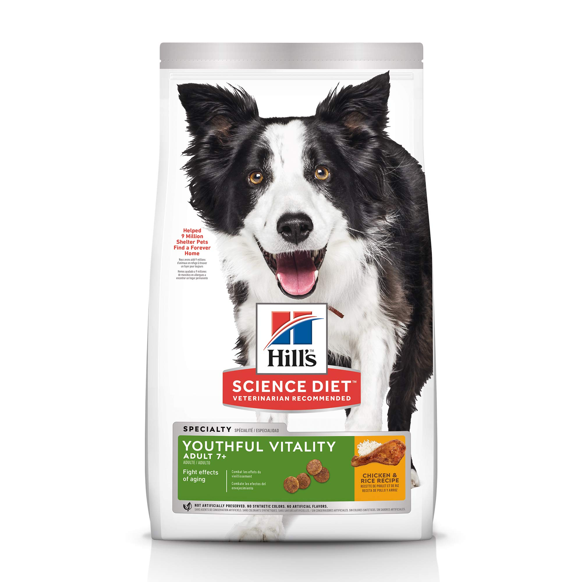 Hill's Science Diet Dry Dog Food, Adult 7+ for Senior Dogs, Youthful Vitality, Chicken & Rice Recipe, 21.5 lb Bag