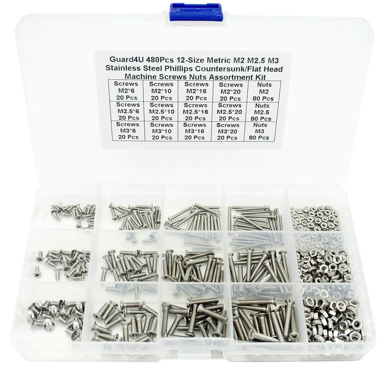 Guard4U 480Pcs 12-Size Metric M2 M2.5 M3 Stainless Steel Phillips Countersunk/Flat Head Machine Screws Nuts Assortment Kit