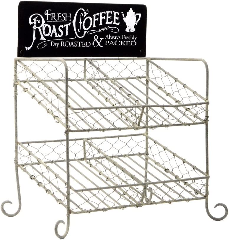 Treasure Gurus Rustic Chicken Wire K-Cup Holder Caddy Coffee Pod Storage Basket
