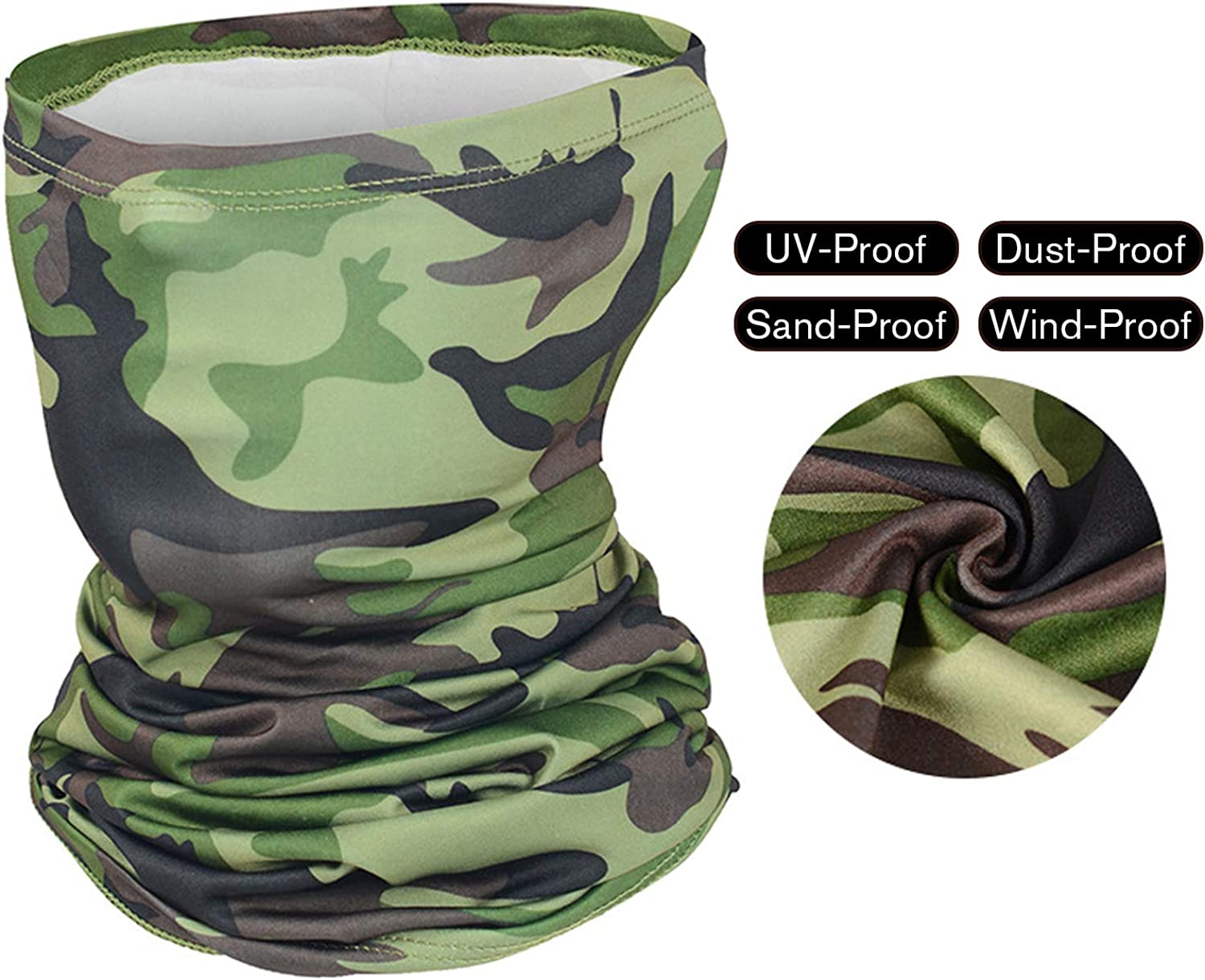 AKUDY Seamless Bandana Face Mask Covering Women Men Neck Gaiter for Dust Wind Sun Protection