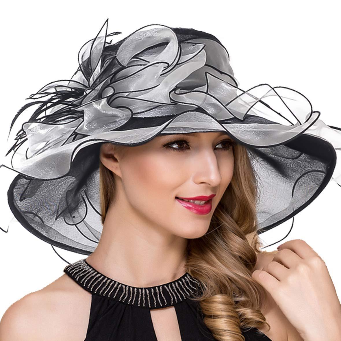 Women Derby Church Dress Fascinator Wide Brim Ruffles Tea Party Wedding Organza Hats S042b (S037-Black)