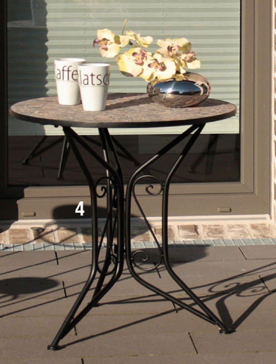Dreams4Home Gartenmetall Tischset 'Brodah' - Set, 1x Tisch, 1x Stuhl, Metall, Metallmöbel, Gartendeko, Balkonmöbel, Gartenmöbel, Terrasse, Outdoor, in schwarz mit Mosaikinlay