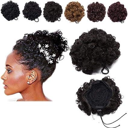 Postiche Chignon Afro Scrunchie Cheveux Naturel [Marron Moyen] Fibres  Résistant à Chaleur