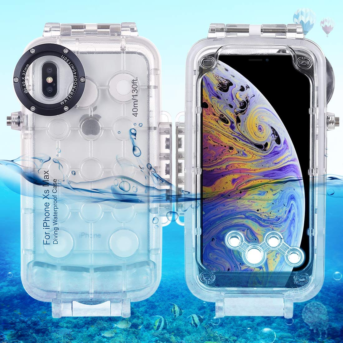 HAWELL iPhoneXS MAX Diving Case, Professional [40m/130ft] Surfing Swimming Snorkeling Photo Video Waterproof Protective Case Underwater Housing for iPhone with Lanyard by Hawell