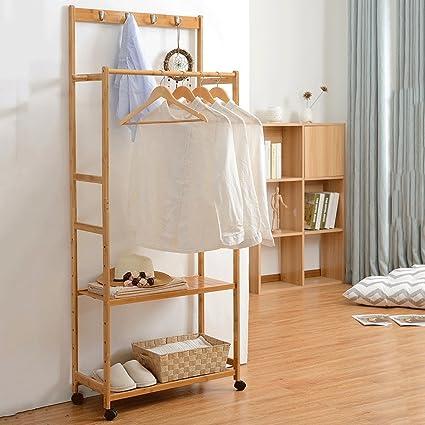 JIANFEI Durable Perchero Resistente Bambú Doble Barra Altura ...